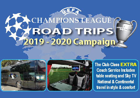 UEFA Champions League Road Trips 2019 - 2020 Campaign. The Club Class Extra Coach Service includes table seating and Sky TV National and Continental travel in style and comfort